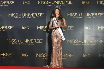 Miss Universe 2016 Iris Mittenaere pose for a photograph during a press conference after the Miss Universe 2016 Coronation at the SM Mall of Asia Arena on Monday. (Jay Ganzon)