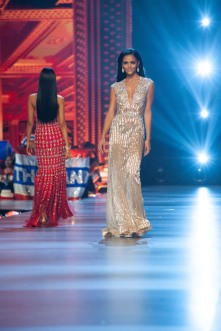Kiara Ortega, Miss Puerto Rico 2018 competes on stage in an evening gown of her choice as a Top 10 finalist during The MISS UNIVERSE® Competition airing on FOX at 7:00 PM ET live/PT tape-delayed on Sunday, December 16, 2018 from the IMPACT Arena in Bangkok, Thailand. Contestants from around the globe have spent the last few weeks touring, filming, rehearsing and preparing to compete for the Miss Universe crown. HO/The Miss Universe Organization